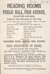Advert for the Public Hall in Clacton on Sea